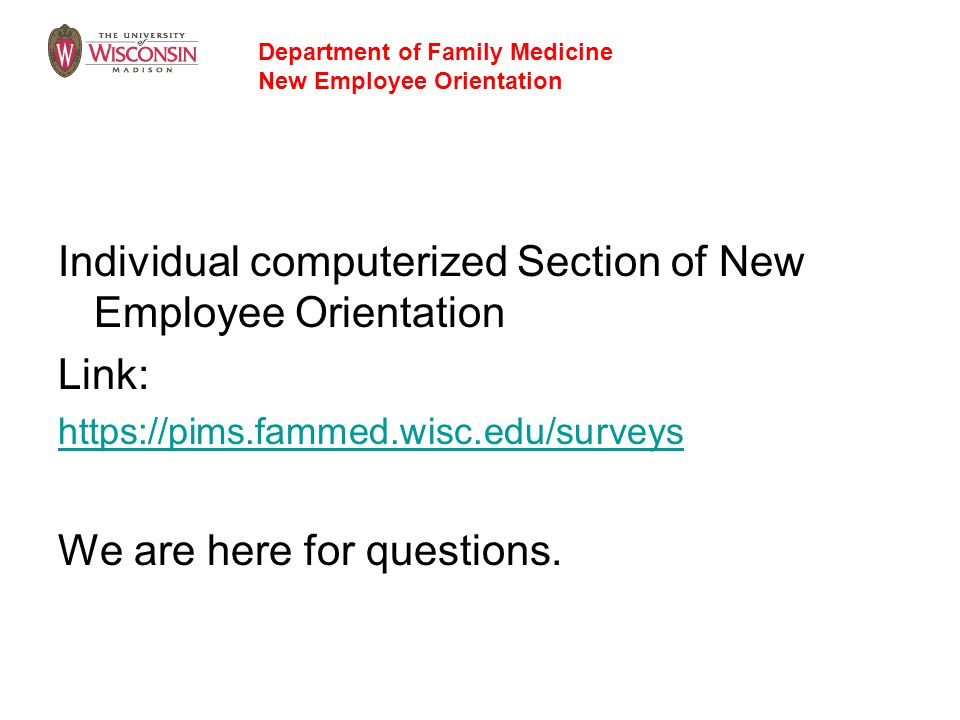 Individual computerized Section of New Employee Orientation Link: