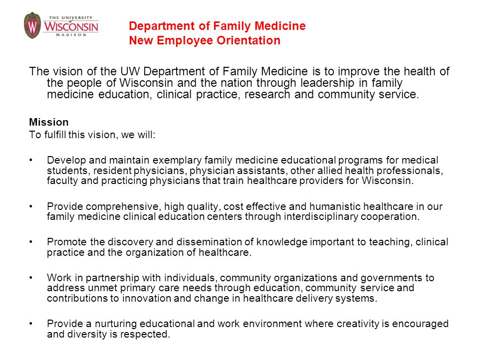Department of Family Medicine New Employee Orientation
