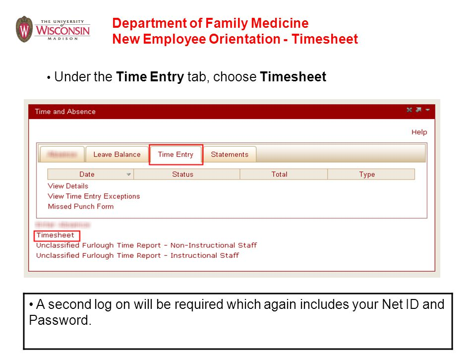Department of Family Medicine New Employee Orientation - Timesheet