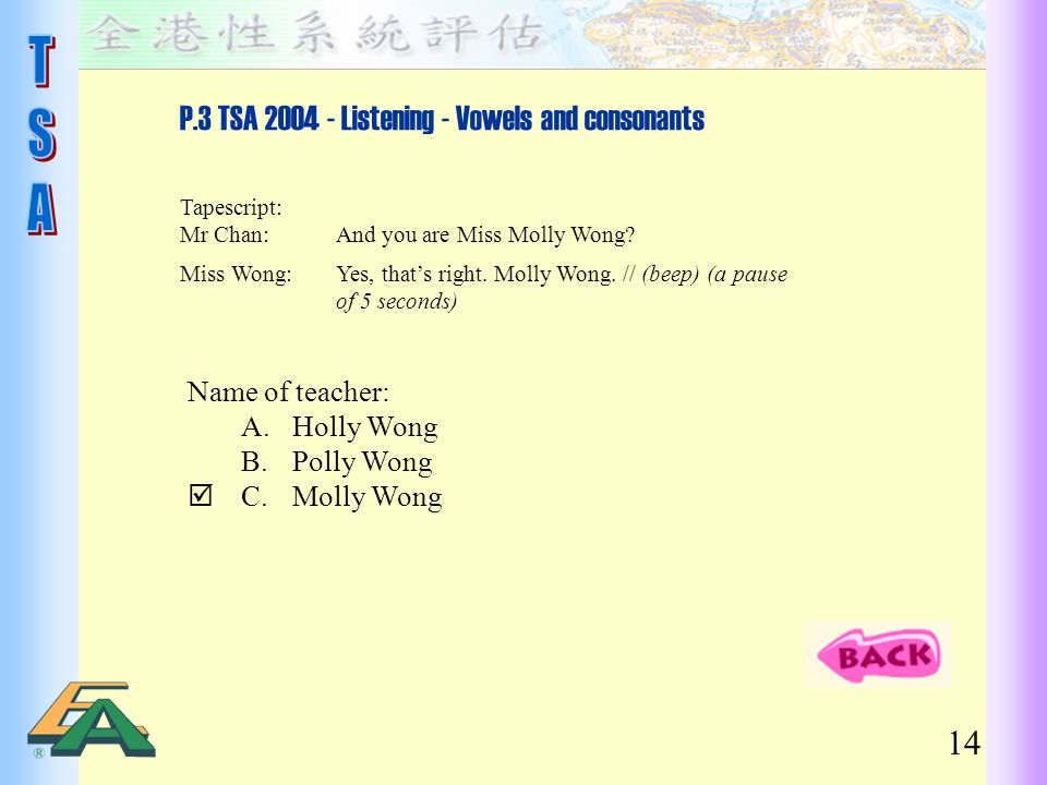 P.3 TSA 2004 - Listening - Vowels and consonants