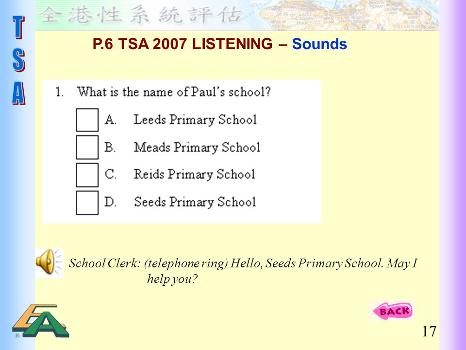P.6 TSA 2007 LISTENING – Sounds