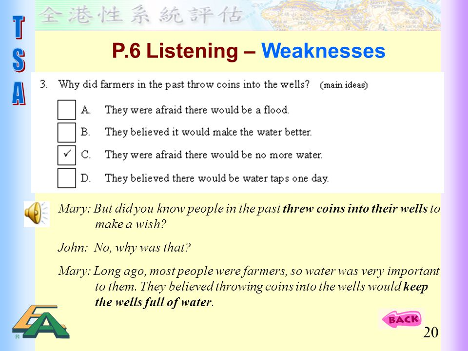 P.6 Listening – Weaknesses