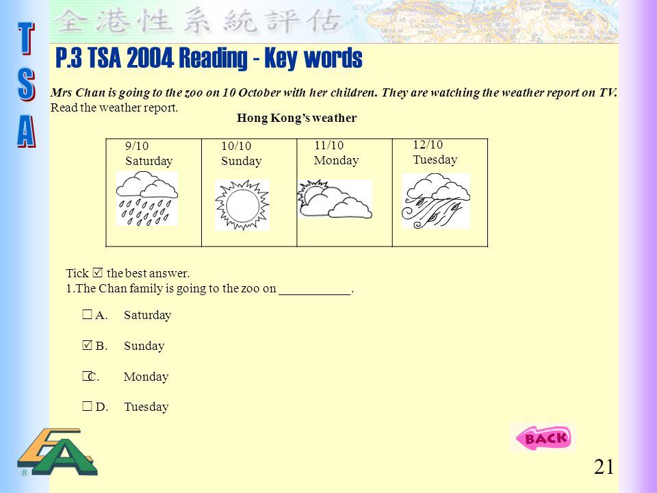 P.3 TSA 2004 Reading - Key words