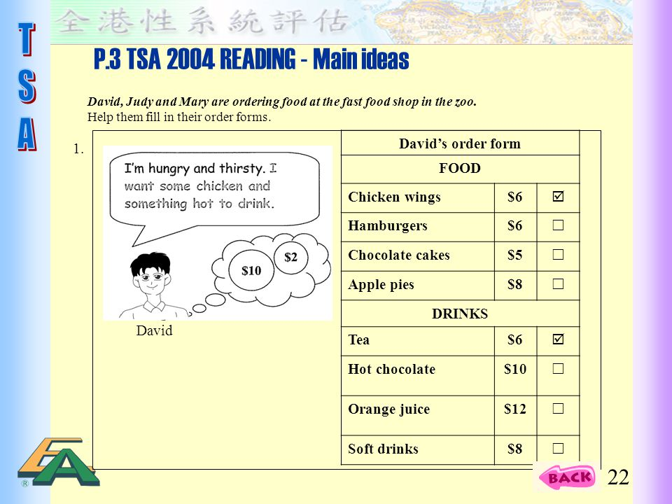 P.3 TSA 2004 READING - Main ideas