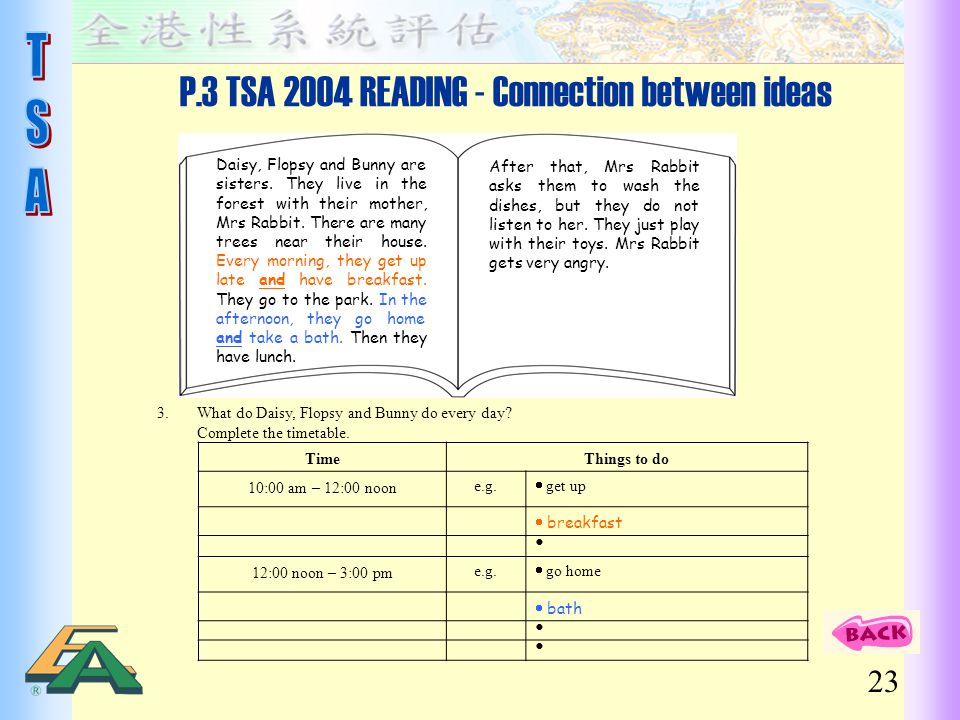 P.3 TSA 2004 READING - Connection between ideas