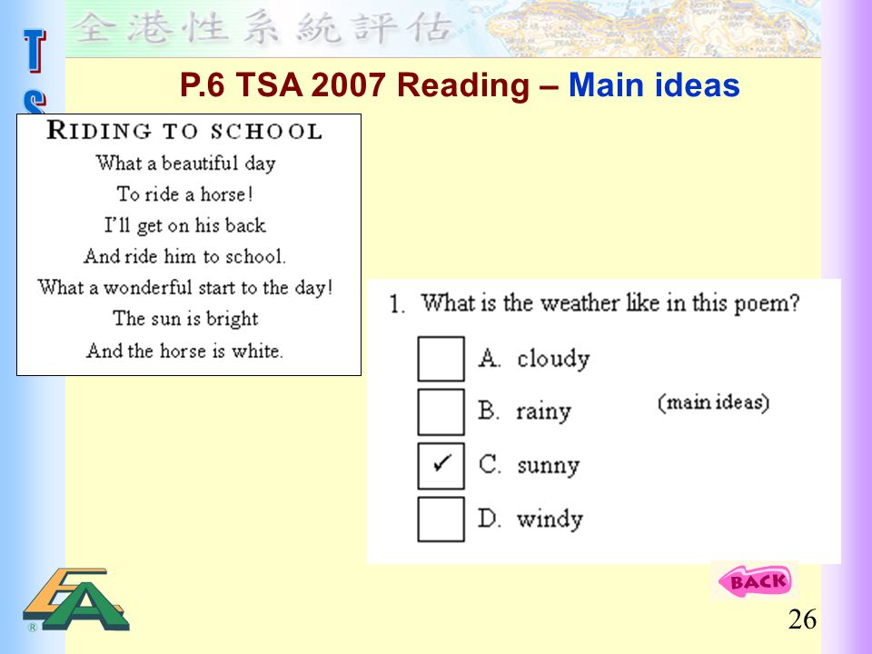 P.6 TSA 2007 Reading – Main ideas