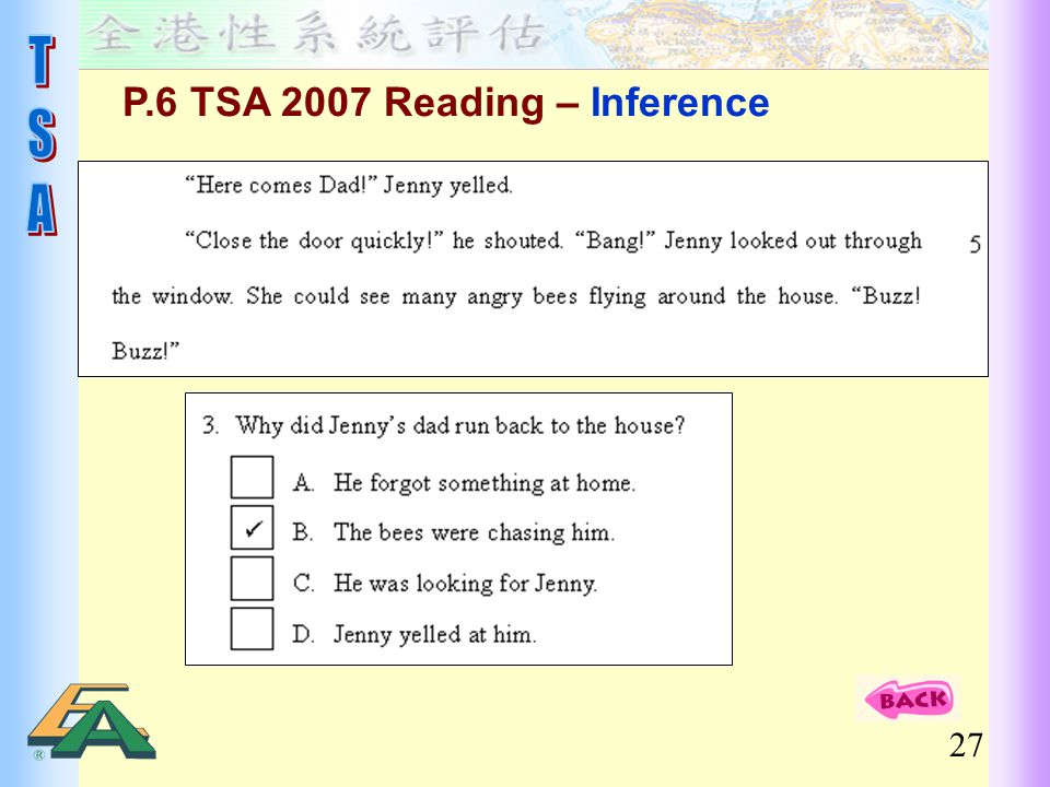 P.6 TSA 2007 Reading – Inference