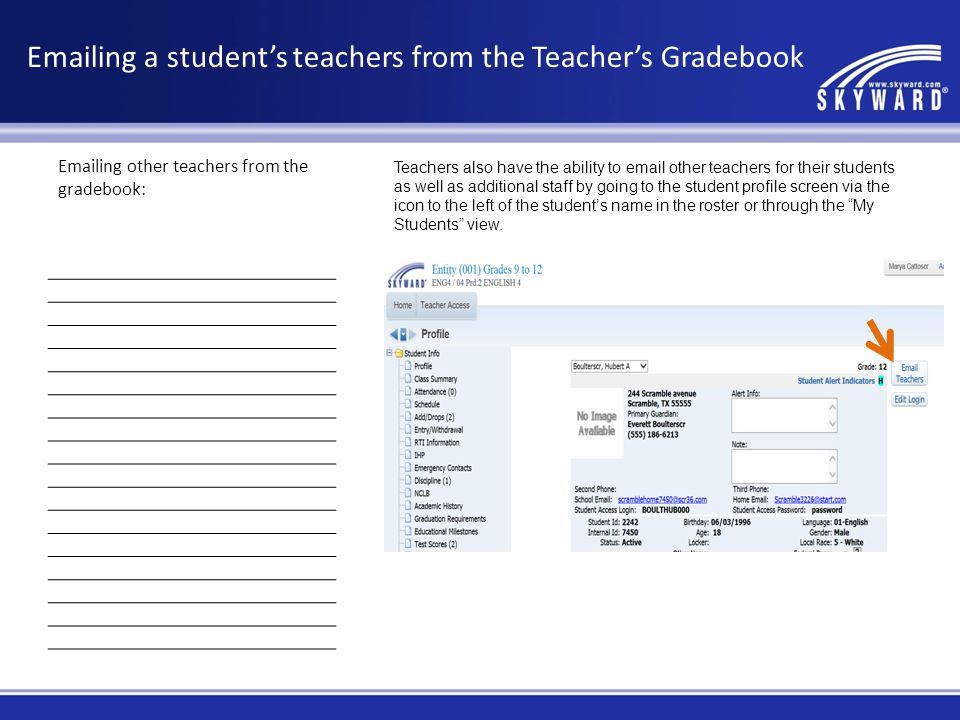Emailing a student's teachers from the Teacher's Gradebook