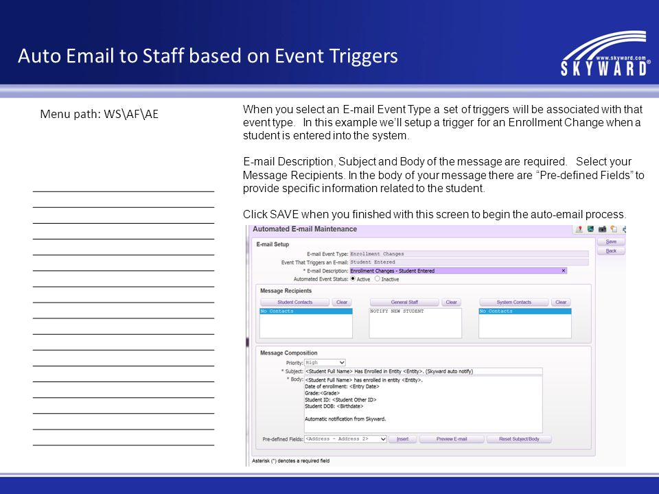 Auto Email to Staff based on Event Triggers
