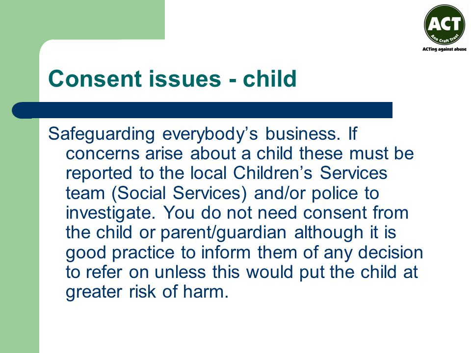 Consent issues - child
