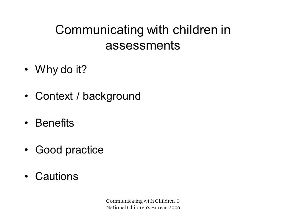 Communicating with children in assessments
