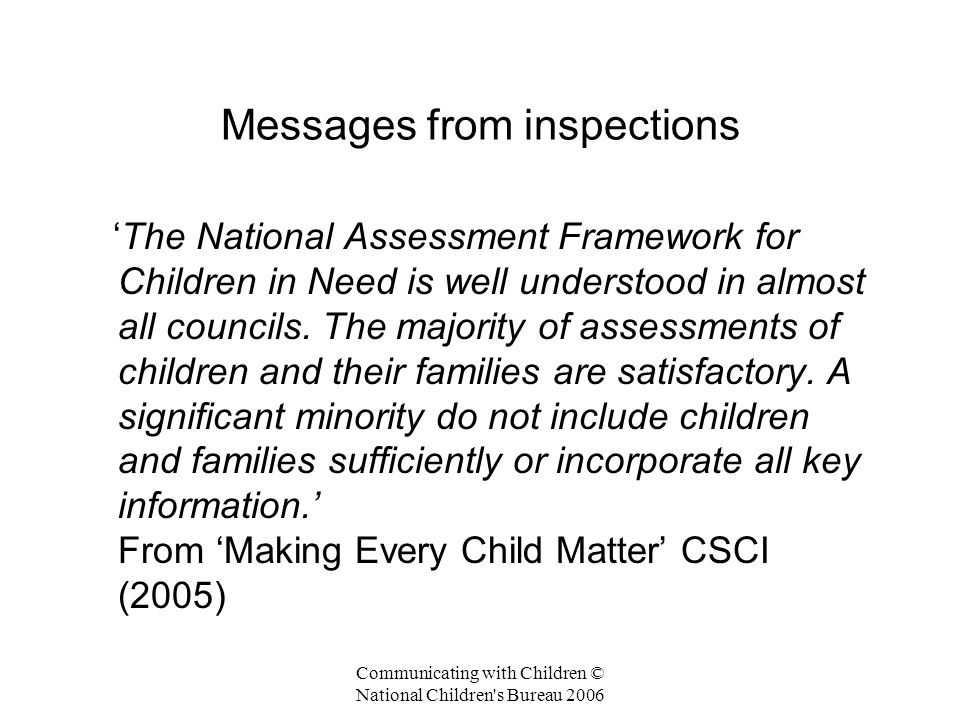 Messages from inspections