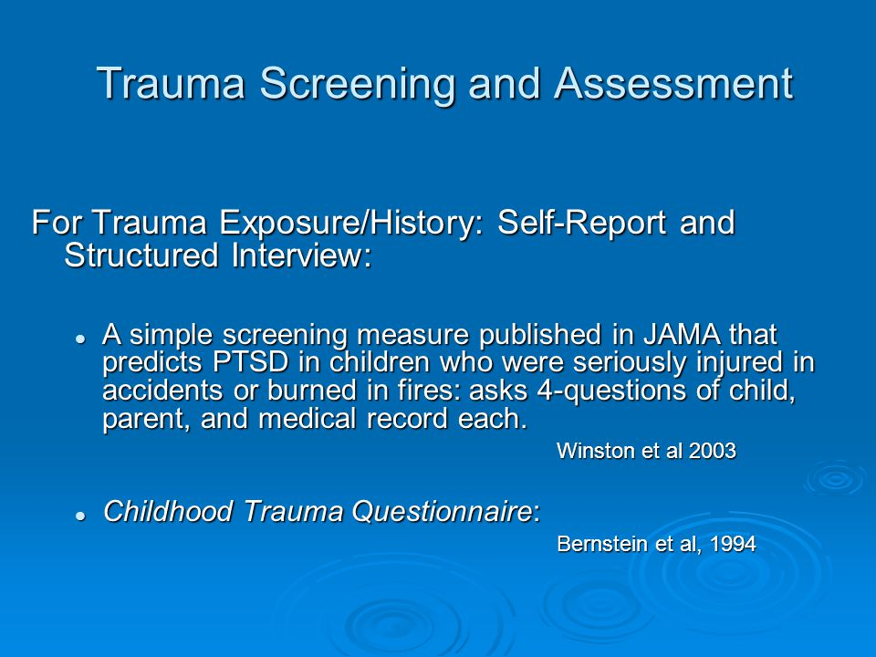 Trauma Screening and Assessment