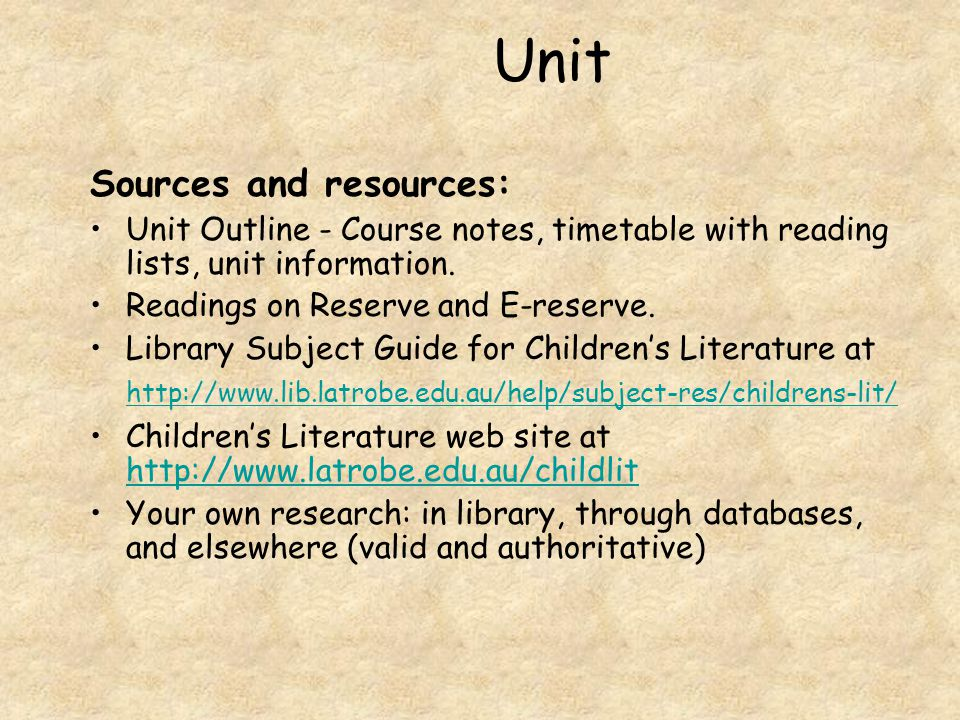 Unit Sources and resources: