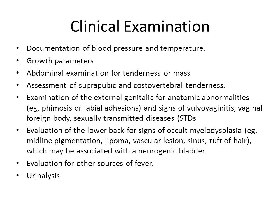 Clinical Examination Documentation of blood pressure and temperature.