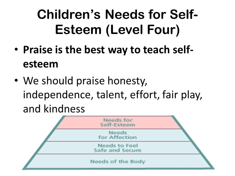 Children's Needs for Self-Esteem (Level Four)