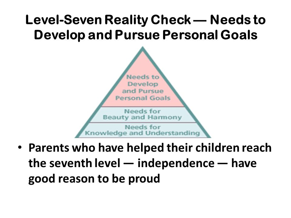 Level-Seven Reality Check — Needs to Develop and Pursue Personal Goals