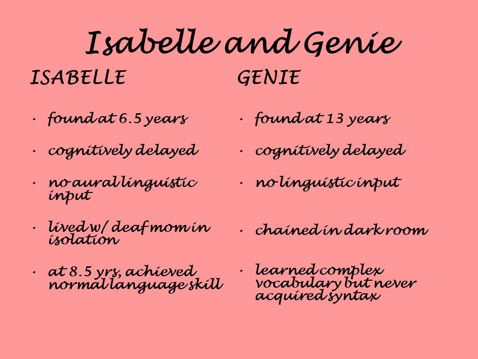 Isabelle and Genie ISABELLE GENIE found at 6.5 years