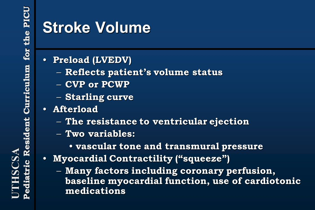 Stroke Volume Preload (LVEDV) Reflects patient's volume status