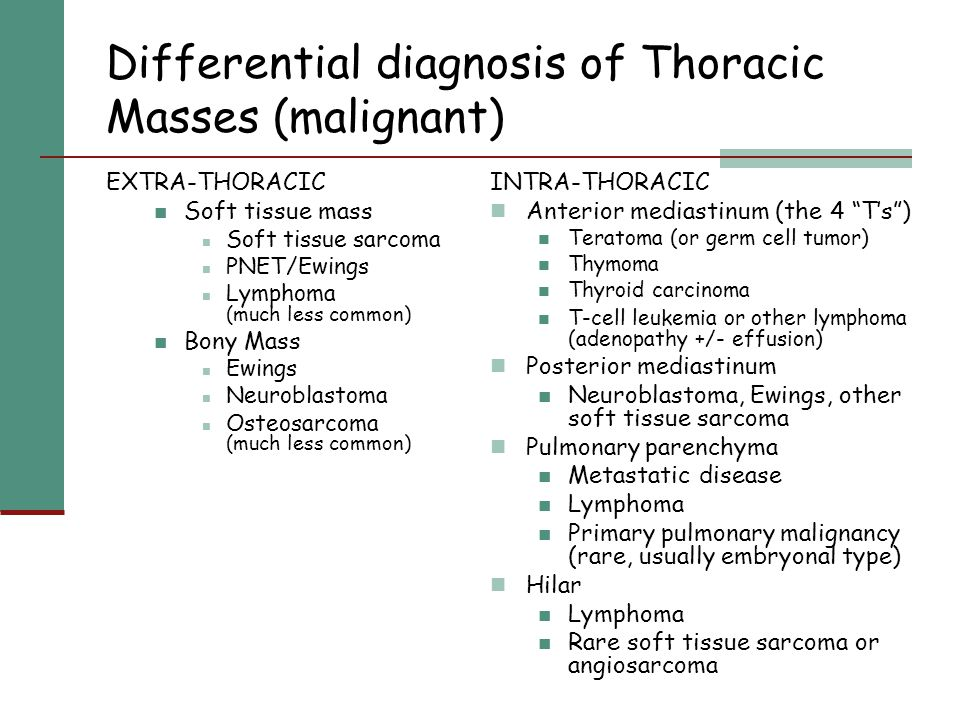 Differential diagnosis of Thoracic Masses (malignant)