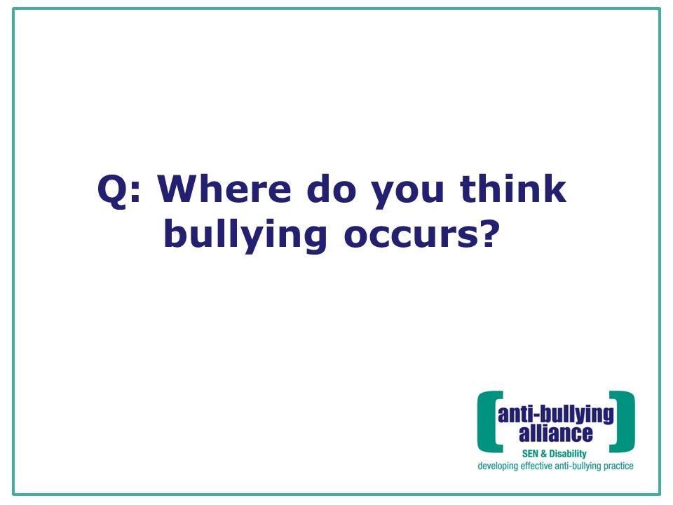 Q: Where do you think bullying occurs