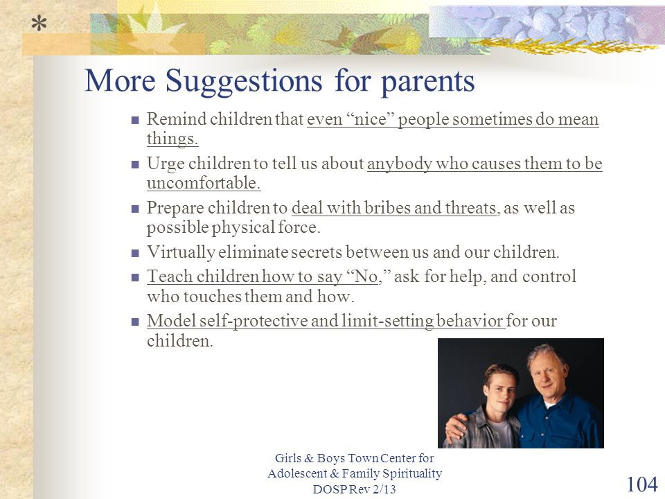 More Suggestions for parents