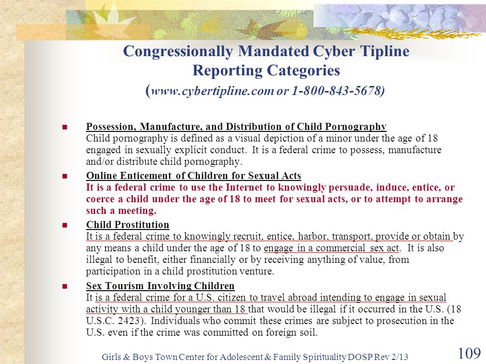 Congressionally Mandated Cyber Tipline Reporting Categories (www
