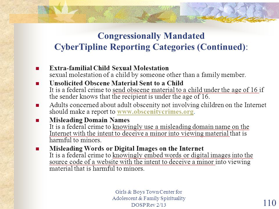 Congressionally Mandated CyberTipline Reporting Categories (Continued):