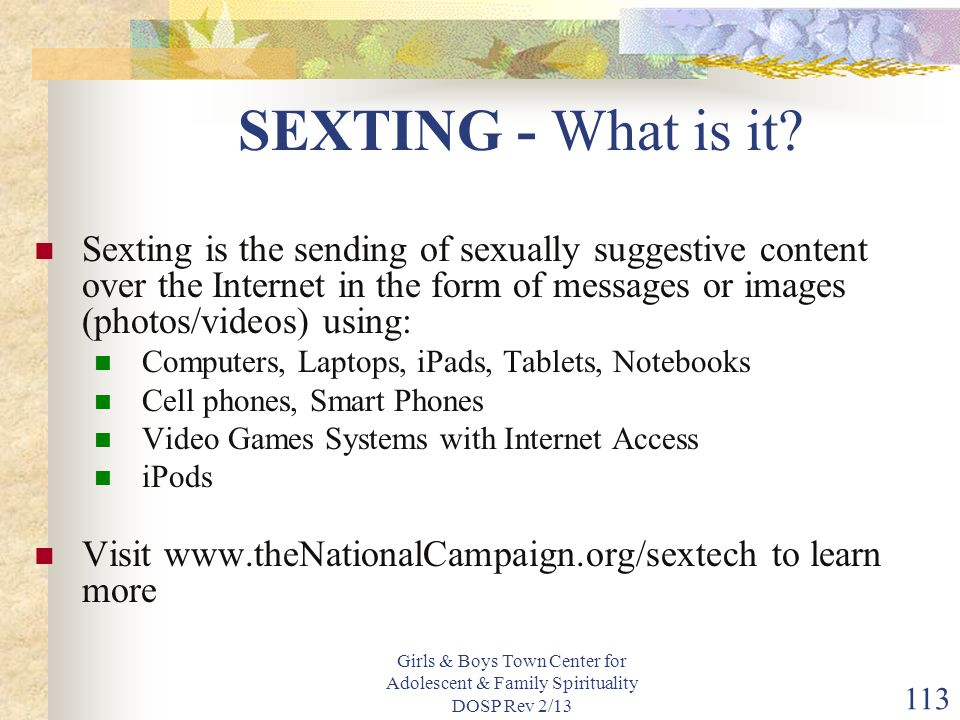 SEXTING - What is it