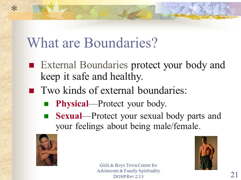 * What are Boundaries External Boundaries protect your body and keep it safe and healthy. Two kinds of external boundaries: