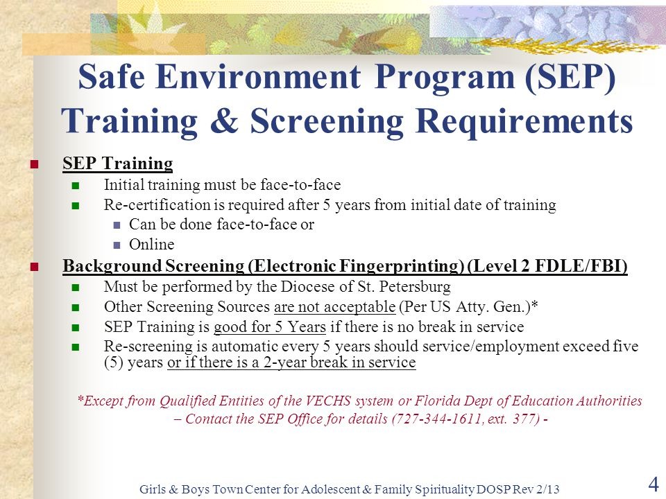 Safe Environment Program (SEP) Training & Screening Requirements