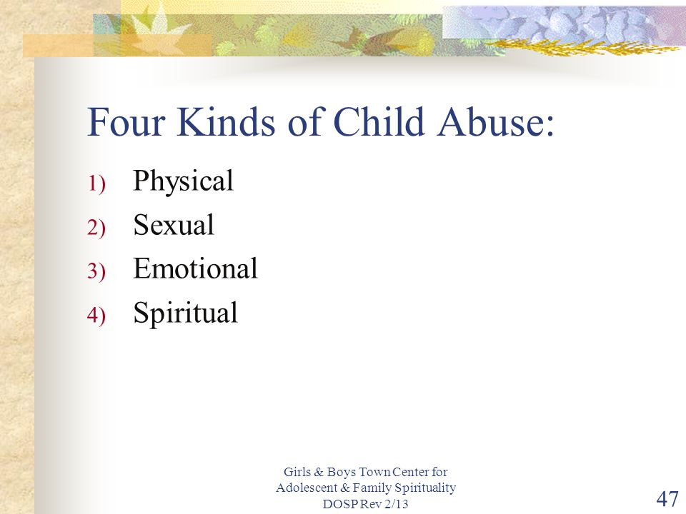 Four Kinds of Child Abuse: