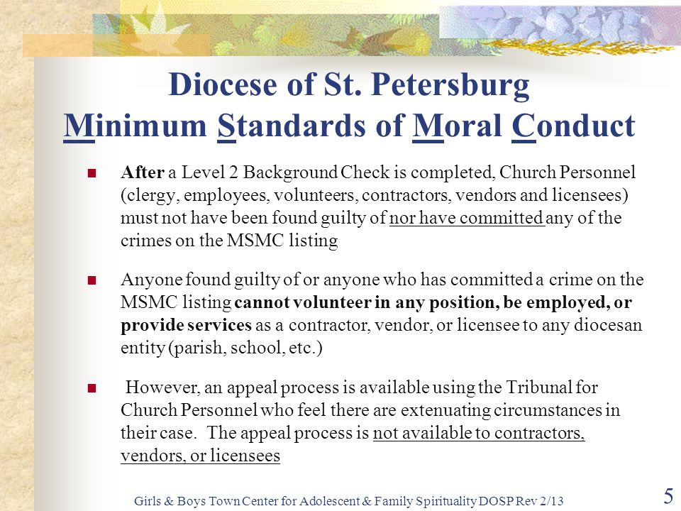 Diocese of St. Petersburg Minimum Standards of Moral Conduct