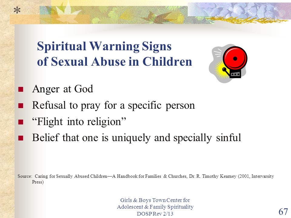 Spiritual Warning Signs of Sexual Abuse in Children