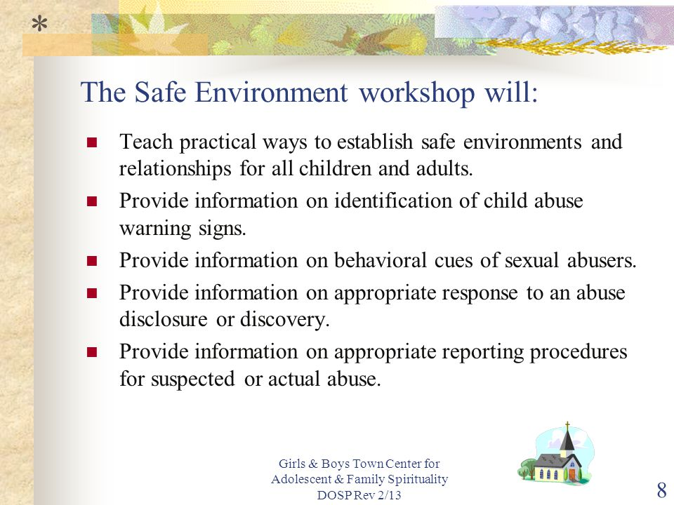 The Safe Environment workshop will: