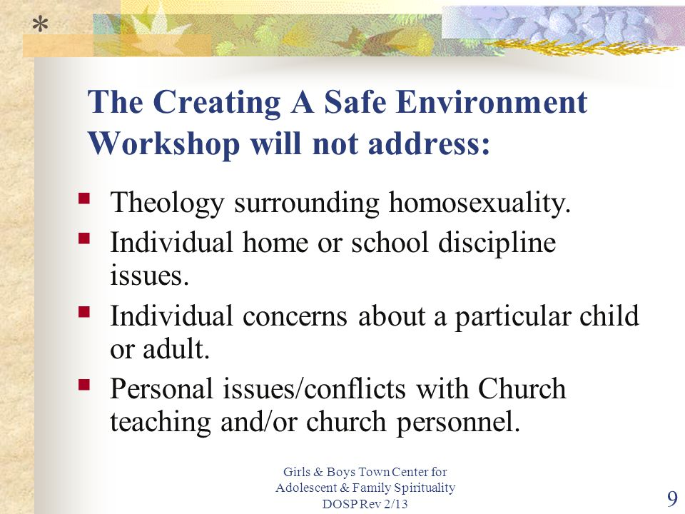 The Creating A Safe Environment Workshop will not address: