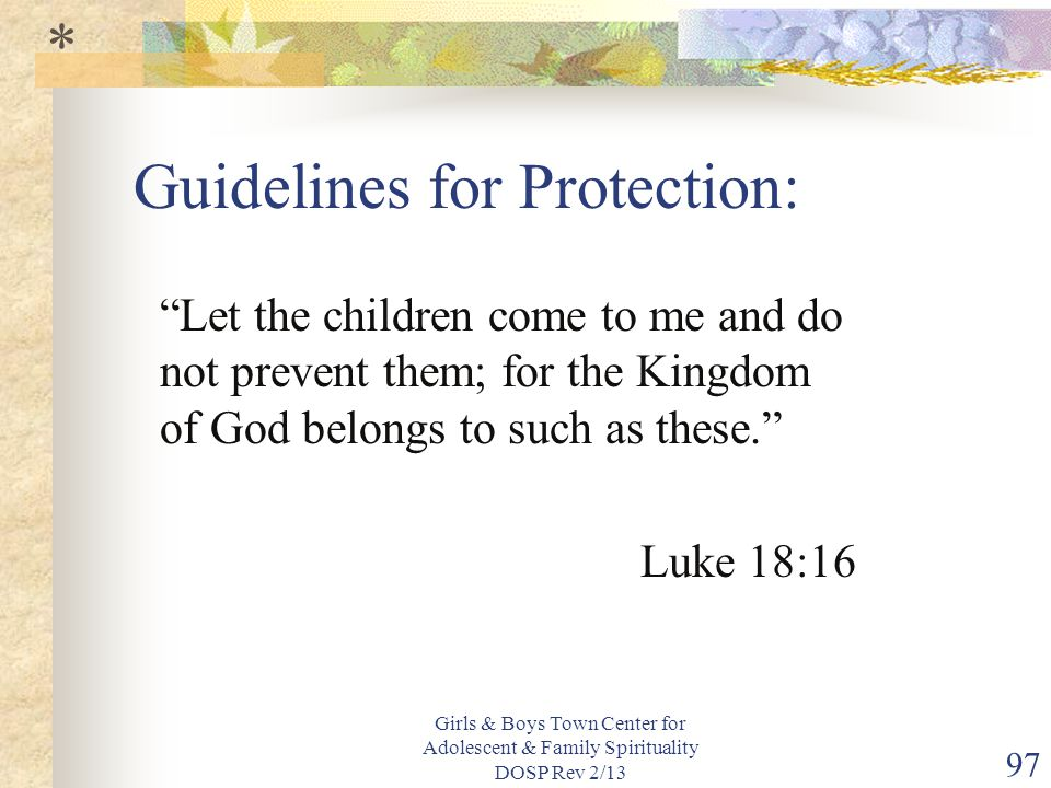 Guidelines for Protection:
