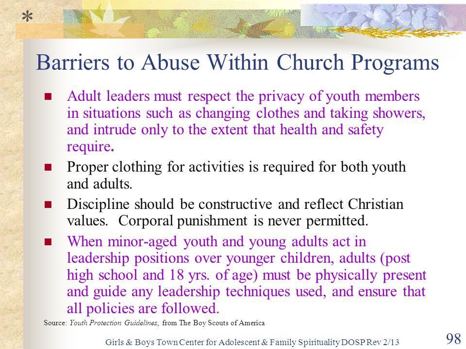 Barriers to Abuse Within Church Programs