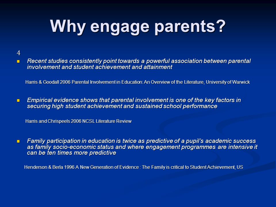Why engage parents 4.