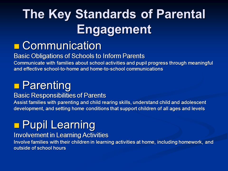 The Key Standards of Parental Engagement