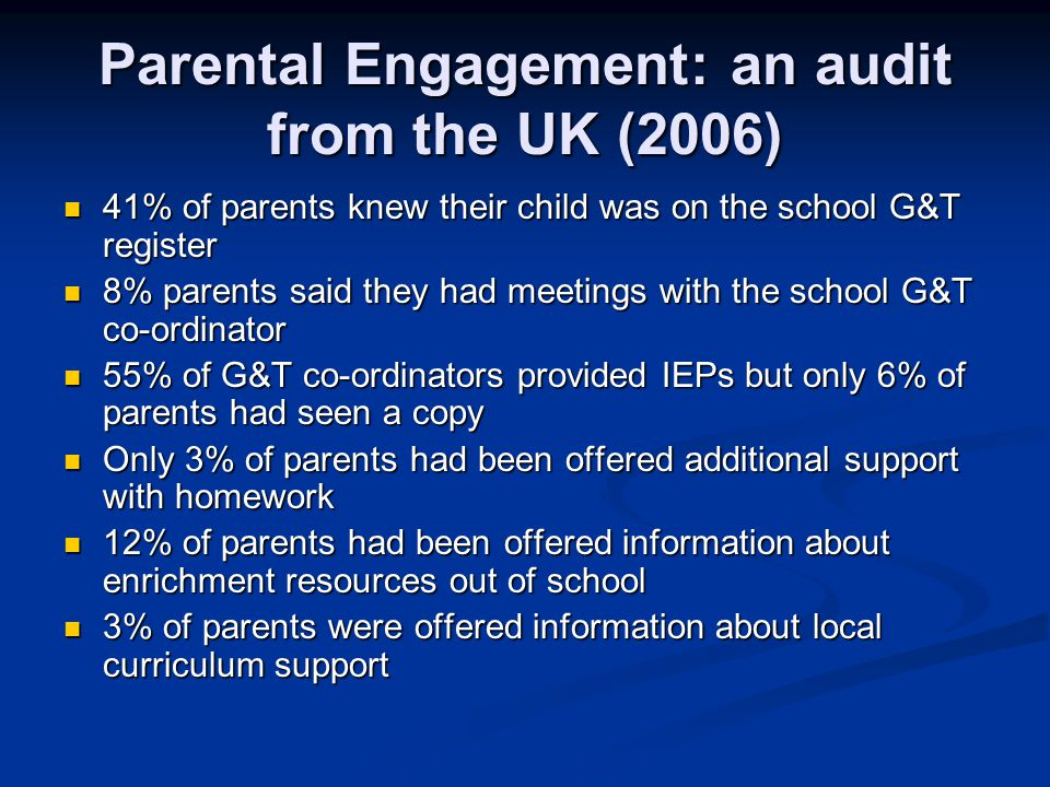 Parental Engagement: an audit from the UK (2006)