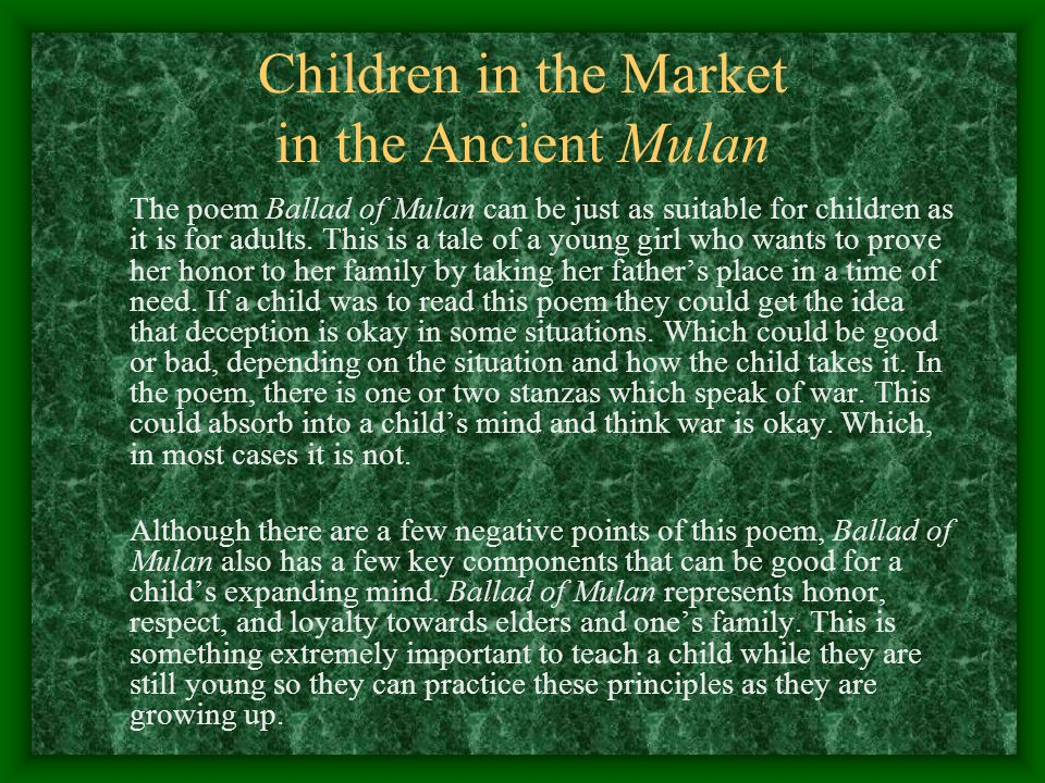 Children in the Market in the Ancient Mulan