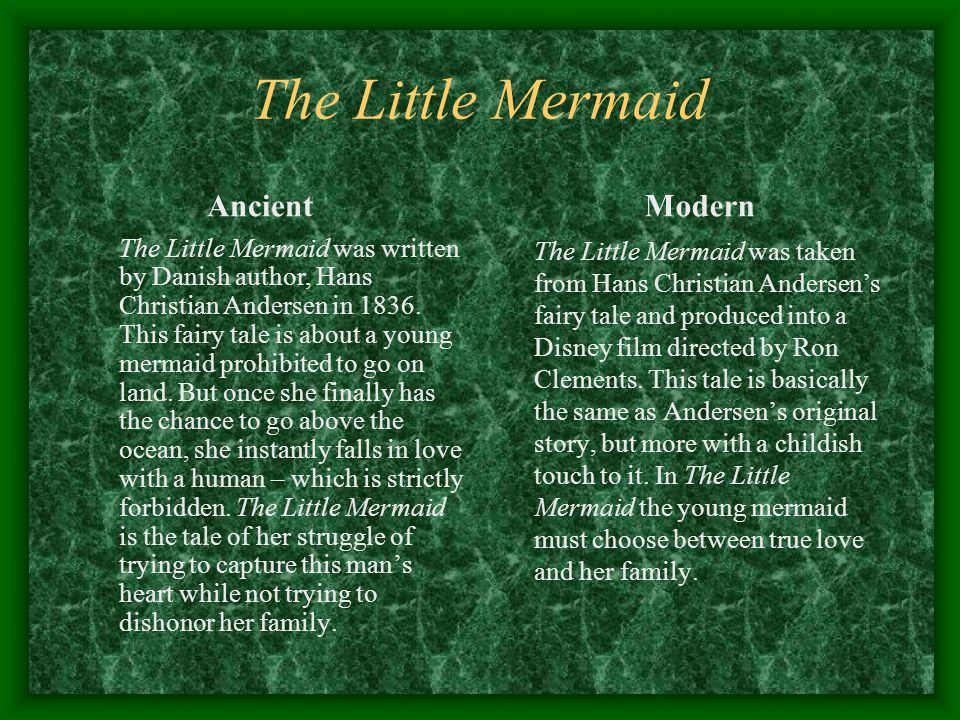 The Little Mermaid Ancient Modern
