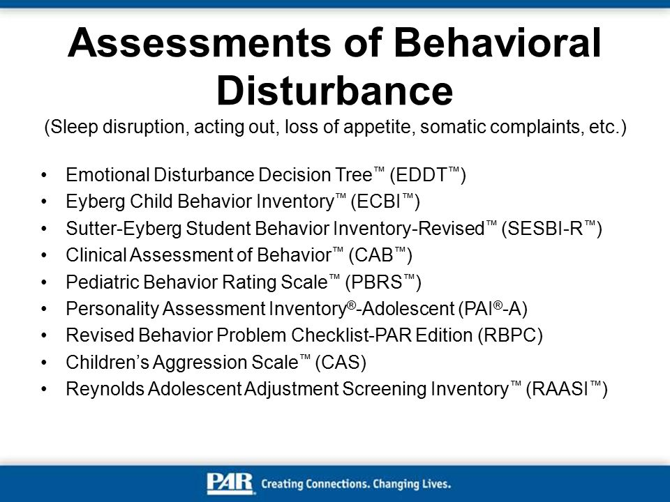 Assessments of Behavioral Disturbance (Sleep disruption, acting out, loss of appetite, somatic complaints, etc.)