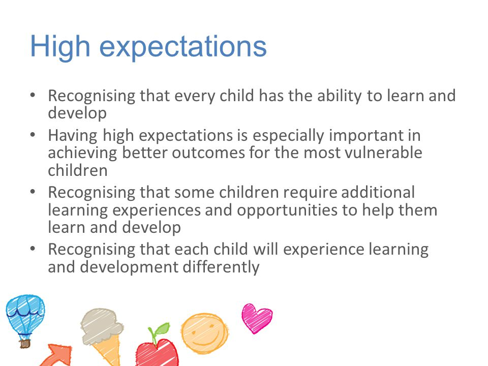 High expectations Recognising that every child has the ability to learn and develop.