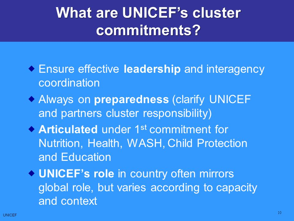 What are UNICEF's cluster commitments
