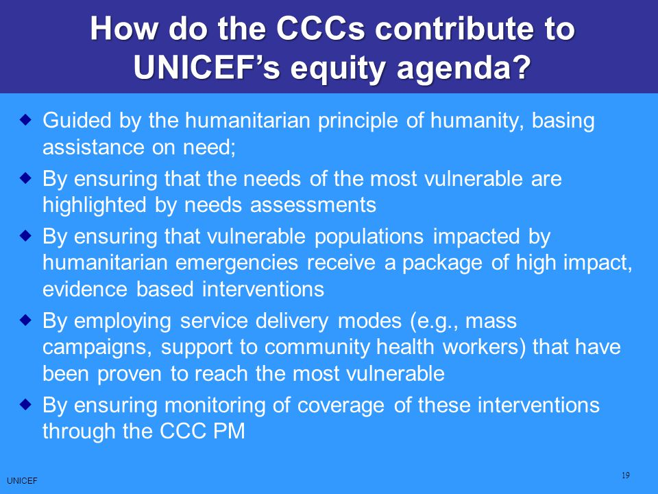 How do the CCCs contribute to UNICEF's equity agenda