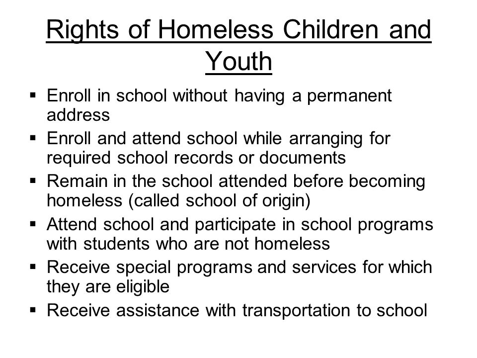 Rights of Homeless Children and Youth