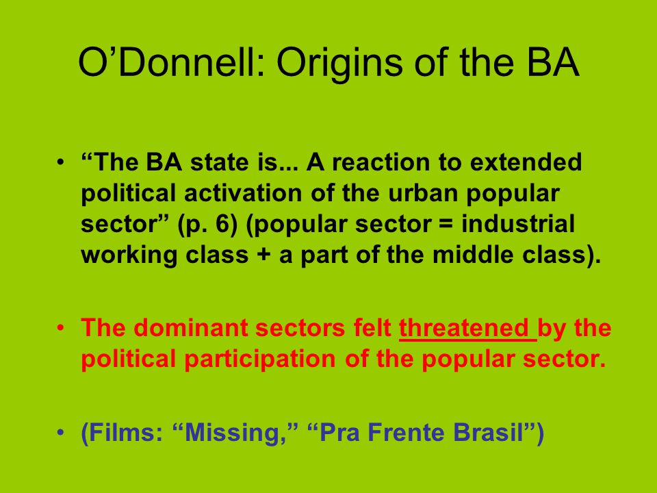 O'Donnell: Origins of the BA