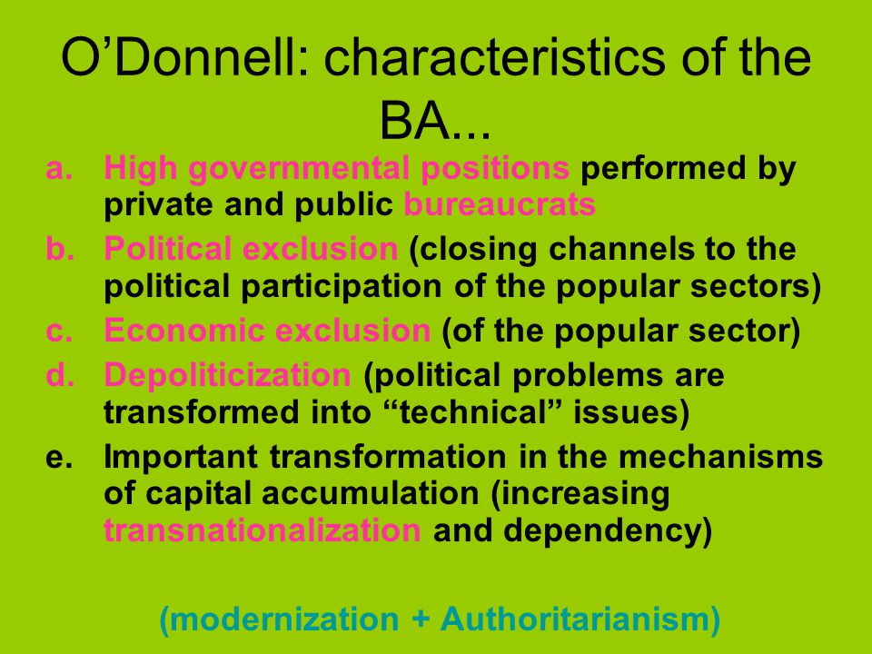 O'Donnell: characteristics of the BA...